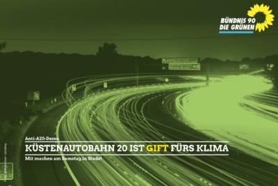 Küstenautobahn 20 ist Gift fürs Klima, in Stade Anti-A20-Demo