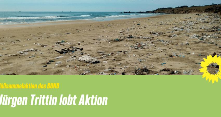 Jürgen Trittin lobt Müllsammelaktion des BUND